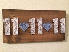 LOVE THIS!! <3 Wedding date string art- Order from KiwiStrings on Etsy! ( www.KiwiStrings.etsy.com )