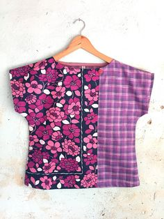 Items similar to Upcycled Womens Shirt Top Blouse Petite Vintage Linen Tea Towel Spring Floral Purple Blue Retro Cotton Patchwork X Small on Etsy Shirt Hacks, Overalls Outfit, Altering Clothes, Dress Sewing Patterns, Sewing Clothes, Couture Fashion, African Fashion, Shorts, Vintage Linen