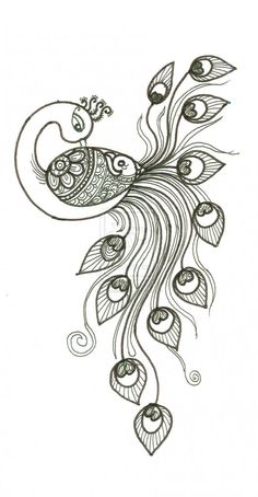 A drawing of a peacock peacocks on library peacock drawing peacock Peacock Drawing, Peacock Art, Peacock Design, Peacock Sketch, Henna Peacock, Feather Sketch, Indian Peacock, Feather Drawing, Henna Patterns