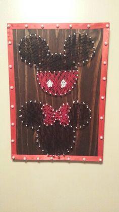Mickey and Minnie nail string art