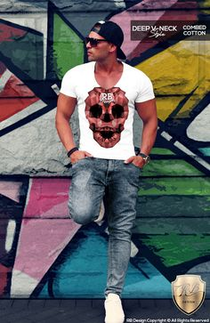 6ab44641d755b Items similar to Men s Abstract Skull T-shirt RB Design Triangle Polygons  Red Blue Gray Color Luxury Stylish Deep V Neck Muscle Tank Top MD658 on Etsy