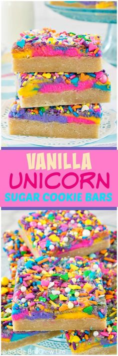 Vanilla Unicorn Sugar Cookie Bars - these easy cookie bars are made and frosted in one pan. Lots of colorful frosting and sprinkles give it a fun flair. Great dessert recipe for any party!