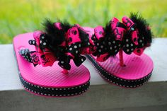 Black and pink punk with black marabou flip by flippinout2011, $22.00