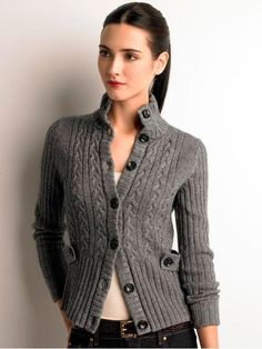 Women s Apparel Cable knit jacket sweater coats sweaters Banana Republic - Stylehive Sweater Coats, Winter Sweaters, Cable Knit Sweaters, Sweaters For Women, Sweater Weather, Knit Jacket, Sweater Jacket, Knit Cardigan, Grey Sweater