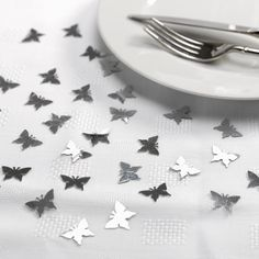 Wedding Table Decorations, Silver Butterfly Confetti - Elegant Butterfly
