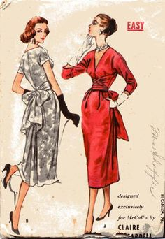 Claire McCardell sewing pattern by McCalls 4292 Claire Mccardell, Vintage Dress Patterns, Clothing Patterns, Vintage Dresses, Bonnie Cashin, Moda Vintage, Style Vintage, 1950s Style, Retro Outfits