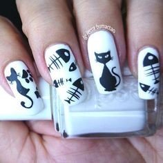 Cute Nail Designs For Spring – Your Beautiful Nails Cat Nail Art, Animal Nail Art, Cat Nails, Cat Nail Designs, Halloween Nail Designs, Halloween Nail Art, Spooky Halloween, Fish Nails, Fish Nail Art