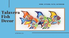These hand painted Talavera fish will make a lovely addition to your home decor. They will look lovely displayed in your kitchen, office, patio or bathroom. Mexican Home Decor, Kitchen Office, Beautiful Patterns, Home Decor Items, Vibrant Colors, Hand Painted, Patio, Fish, Bathroom