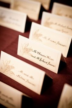 Simple Elegant Wedding Place Cards 275x412 Washington DC Wedding Reception: Sarah + Michael