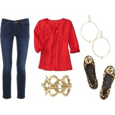 Great outfit…red blouse, skinny jeans, Tory ballet flats and gold accessories. Easy peasy chic.