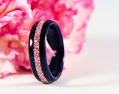 Wood Ring Ebony Ring Pink Ring Pink Jewelry by SimplyYelena