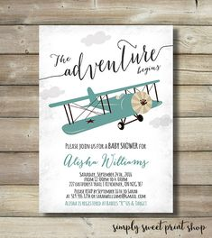 Airplane Boy Baby Shower Invite Invitation by SimplySweetPrintShop
