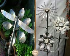 clever is this? Old spoons, forks, a couple of knives and a soldering iron, and you can make these garden ornaments. Metal Art Projects, Metal Crafts, Outdoor Projects, Garden Crafts, Garden Art, Garden Ideas, Garden Projects, Art En Acier, Art Fer