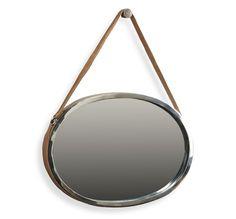 Emirate nickel & leather mirror