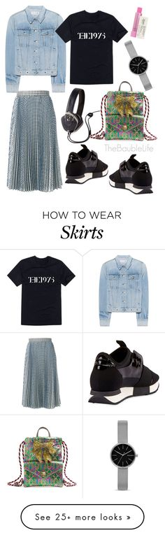 """MSGM Check Pleated Skirt"" by thebaublelife on Polyvore featuring Gucci, MSGM, rag & bone, Balenciaga, Pryma, Skagen, Kiehl's, StreetStyle and luxury"