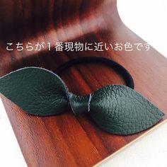 ☆新色☆本革リボンヘアゴム(ダークグリーン)