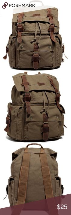 """Kattee Canvas Backpack Large Rucksack This 100% new vintage rucksack combines strong canvas and genuine brown leather materials reminiscent of classic messenger bags. Perfect for travel, hiking or school canvas backpack. Main pocket accommodates a 15"""" laptop in its own compartment. Magnet closures! MAKE ME AN OFFER!!!  Basic Informations:  Product Size: 13""""(L)*18.8""""(H)*7""""(W)  Model Height: 6 ft 2 1/4in  Strap length: 9cm(3.5inches)  Item weight: 3.1lb katee Bags Backpacks"""