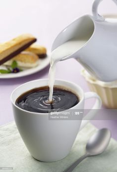 Stock Photo : Coffee with milk and biscotti Daughter Of God, Biscotti, Milk, Coffee, Tableware, Oriental, Mandarin Oranges, Kaffee, Dinnerware