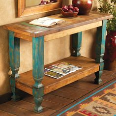 Old Wood Turquoise Console Table furniture living room furniture ideas furniture kitchen furniture log rustic furniture Wood Console Table, Furniture Design, Simple Living Room Decor, Rustic Furniture, Western Furniture, Furniture, Italian Bedroom Furniture, Cool Furniture, Diy Furniture Chair