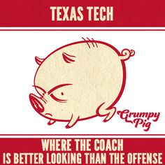 Some think the Texas Tech coach is hot. Well, if looks could score touchdown, the Hogs might be in trouble. I like our chances... | Grumpy Pig Meme |  www.shopgrumpypig.com