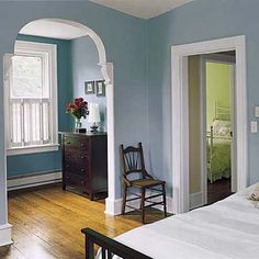 refinished pine floors and new windows in Queen Anne master bedroom Decor, Room Inspiration, Interior, House, Living Room Mantel, Wall Colors, Home Decor, Soft Blue Walls, Room