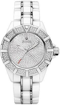 (Limited Supply) Click Image Above: Accutron Mirador Women's White Ceramic Diamond Watch - Bracelet - Diamond Dial - 65r136