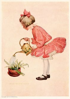A Girl Watering Her Fern - Illustration By Jessie Willcox Smith