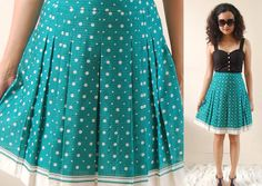 Green turquoise skirt dots vintage 50s S/XS by goldigga on Etsy, $19.00