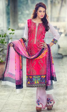 Red Embroidered Cotton Lawn Dress #Pakrobe