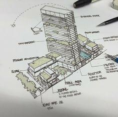 Architecture Drawings, Concept Architecture, Architecture Design, Urban Design Concept, Urban Design Diagram, Condominium Architecture, Sustainable Architecture, Building Concept, Building Design
