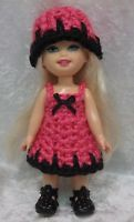 """Clothes for 6"""" KELLY & Cherry Merry Muffin dolls #05 Crochet Dress & Hat Set"""