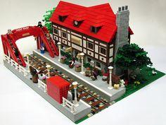 Bricks in suit: September 2010 Lego Train Station, Lego City Train, Lego Trains, Lego Christmas Village, Lego Winter Village, Santa's Village, Lego Videos, Lego Ship, Lego Modular