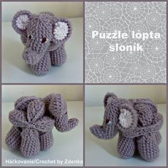 Crochet Elephant Puzzle Ball Created based on amazing http://www.lookatwhatimade.net/crafts/yarn/crochet/free-crochet-patterns/mini-crochet-amish-puzzle-ball/  Link: https://www.facebook.com/710199975743896/photos/a.710437995720094.1073741829.710199975743896/899639026799989/?type=3&theater