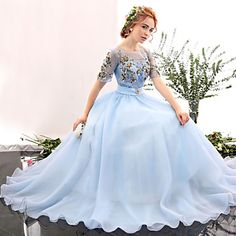Formal+Evening+Dress+-+Sky+Blue+A-line+Jewel+Floor-length+Spandex+–+USD+$+130.49