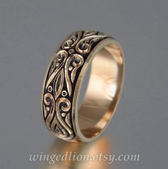 The PRINCE CHARMING 14K rose gold mens wedding band by WingedLion
