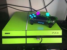 Green PS4 and neon light up controller