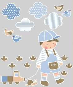 Vinilos infantiles: Niño con trenecito - Vinilo de corte. Piezas que componen la colección: Niño con trenecito, 4 nubes, 4 pájaros, 1 caracol y 8 hierbaas. Altura del niño=55 cm.