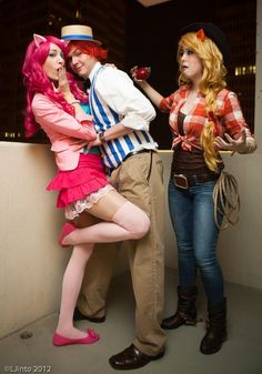 Pinkie Pie, Flim or Flam, and Applejack cosplay
