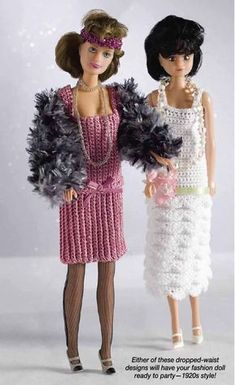 20's Flapper Dress for Barbie Free Crochet Pattern. Pattern found from Picasaweb. More Patterns Like This!