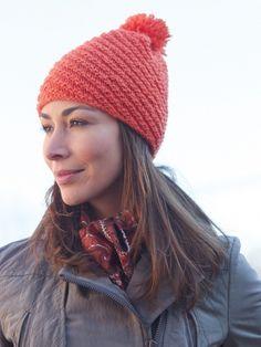Diagonal Stitch Pompom Hat | Free Knitting Patterns | Yarnspirations