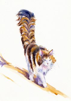 ORIGINAL WATERCOLOUR PAINTING: CALICO CATS / KITTENS:  THE CAT THAT WALKED BY