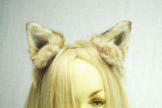 Coyote Ears Headband Real Fur Taxidermy Anime by EvasFeathers, $49.95