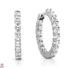 Ebay NissoniJewelry presents - Ladies' 1 3/4CT Diamond Hoop Earrings 14K White Gold    Model Number:E7272S_W477    http://www.ebay.com/itm/Ladies-1-3-4CT-Diamond-Hoop-Earrings-14K-White-Gold/221630377218