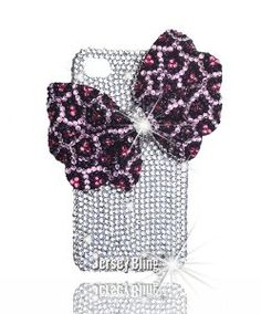 Amazon.com: Jersey Bling® Pink LEOPARD, Iridescent, AB, or Purple Animal Print Crystal & Rhinestone Bow Knot 3d Handmade Iphone 4/4s case/cover (Clear (Iridescent) w/PINK Leopard Bow): Cell Phones & Accessories