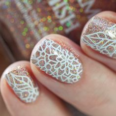 Glitter stamping nail art by Paulina's Passions Glitter stamping nail art by Paulina's Passions Nail Stamping Designs, Diy Nail Designs, Stamping Nail Art, Fabulous Nails, Gorgeous Nails, Pretty Nails, Get Nails, Hair And Nails, Nagel Stamping