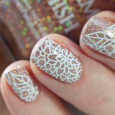 Glitter stamping nail art by Paulina's Passions