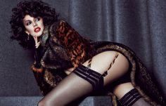 Sabrina Ioffreda with fur coats as well as lingerie inspired stylings stars in Harper's Bazaar Kazakhstan Magazine December 2015 issue Photoshoot