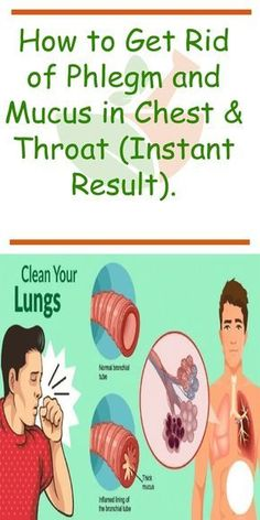 How to Get Rid of Phlegm and Mucus in Chest & Throat (Instant Result) Clogging in the throat and lungs leads to breathing difficulties and persistent cough as the levels of phlegm in the lungs increase. Getting Rid Of Mucus, Getting Rid Of Phlegm, Cough Remedies, Herbal Remedies, Chest Congestion Remedies, Bronchitis Remedies, Holistic Remedies, Chest Infection Remedies, Natural Remedies