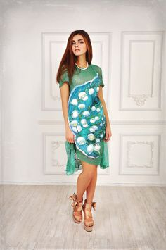 """Dress """"Lily of the Valley of May"""" crochet knitted beaded embrodried boutis trapunto mint green grass batic volumetric panal"""