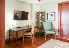 Tropical and coastal home office with TV in vacation home at the Montage Residences in Kapalua Bay on Maui, Hawaii